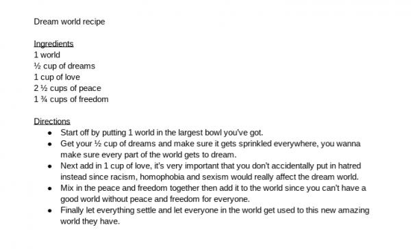 Dream World Recipe