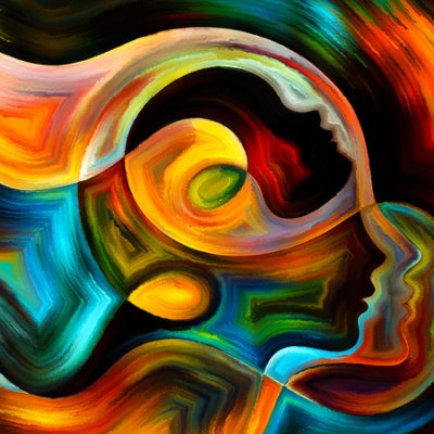 Painting of colorful faces