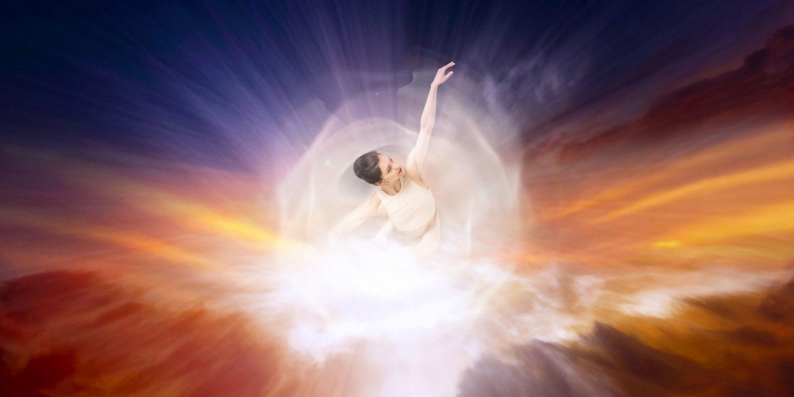 Dancer in beams of light