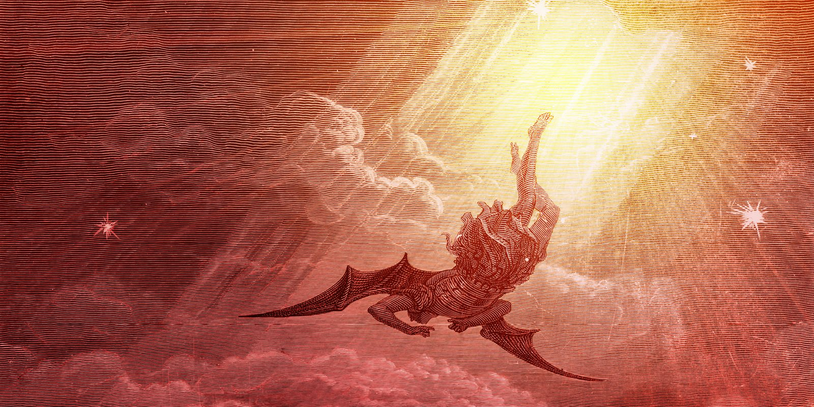 Satan falling with clouds and beams of light